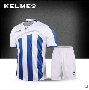 KELME卡尔美 条纹短袖足球比赛球服男运动光板组队服训练定制球衣